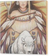 White Buffalo Woman Wood Print
