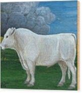 White Bull Wood Print
