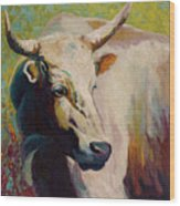 White Bull Portrait Wood Print