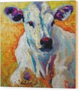 White Calf Wood Print