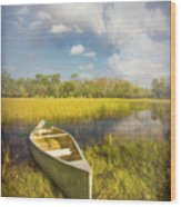 White Canoe Textured Painting Wood Print