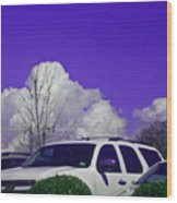 White Car And Clouds Wood Print