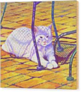 White Cat On Patio Wood Print