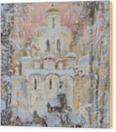 White Cathedral Under Snow Wood Print