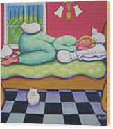 White Cats - Cat Napping Wood Print