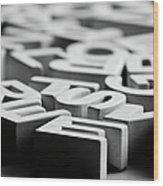 White Ceramic Letters Wood Print