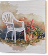 White Chair With Flower Pots Wood Print