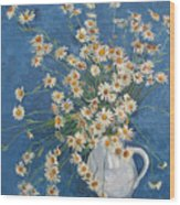 White Chamomile Flowers With Blue Background Wood Print