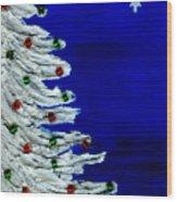 White Christmas Tree Wood Print