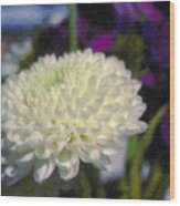 White Chrysanthemum Flower Wood Print