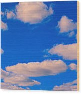 White Clouds In Blue Sky Wood Print