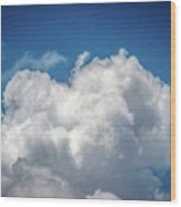 White Clouds In The Sky Wood Print