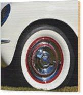 White Corvette Front Fender Wood Print