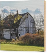 White Country Barn Wood Print