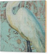 White Crane Wood Print by Billie Colson