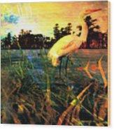 White Cranes Wood Print