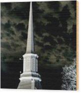 White Cross Dark Skies Wood Print by Joshua House