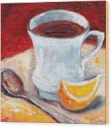 White Cup With Lemon Wedge And Spoon Grace Venditti Montreal Art Wood Print