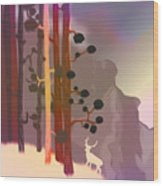 White Deer Climbing Mountains - Abstract And Colorful Forest Wood Print