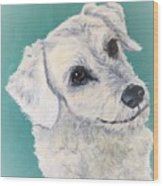 White Dog Wood Print