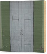 White Door In A Green Wall Wood Print