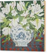 White Double Tulips And Alstroemerias Wood Print