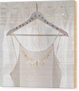 White Dress On Clothes Hanger Wood Print