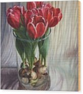 White-edged Red Tulips Wood Print