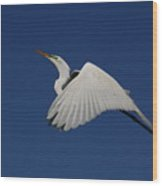 White Egret Soaring Into The Blue Wood Print