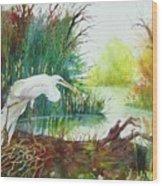 White Egret Swamp Wood Print
