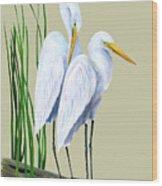 White Egrets And White Lillies Wood Print