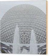 White Epcot Wood Print