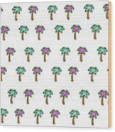 White Epic Palm Tree Print Wood Print