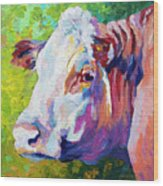 White Face Cow Wood Print