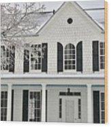 White Farm House In Winter Wood Print