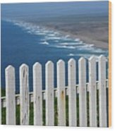 White Fence And Waves Wood Print