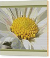 White Flower Abstract With Border Wood Print