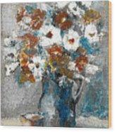 White Flower In Vase And Mug Wood Print