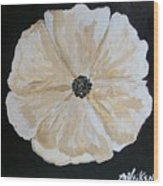 White Flower On Black Wood Print