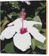 White Flower Work Number 4 Wood Print