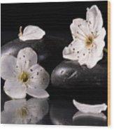 White Flowers Black Stones Wood Print