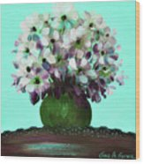 White Flowers In A Vase Wood Print