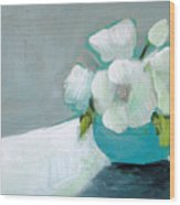 White Flowers In Blue Vase Wood Print