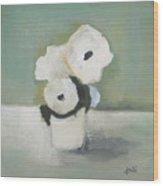 White Flowers In Vase Wood Print
