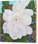 White Gardenia With Virginia Creepers Wood Print