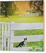 White Gate Cat Wood Print