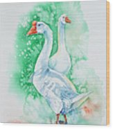 White Geese Wood Print