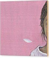 White gerbera on pink Wood Print