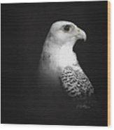 White Gyr On Black Wood Print