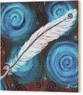 White Hawk Feather Wood Print